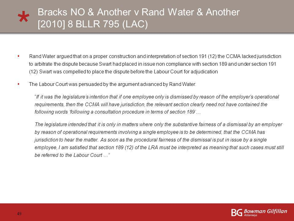 Bracks NO & Another v Rand Water & Another [2010] 8 BLLR 795 (LAC)